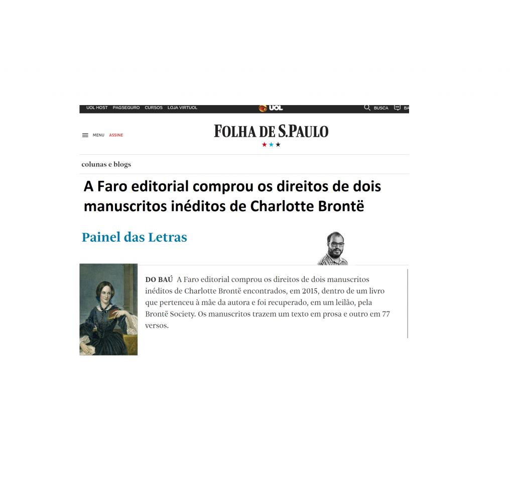 Folha de São Paulo – Textos inéditos de Charlote Brontê serão publicados em 2019.