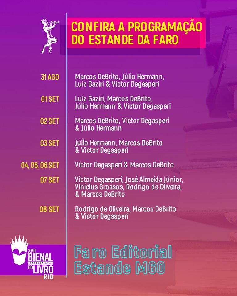 Confira a programação da Faro na Bienal do livro Rio 2019!