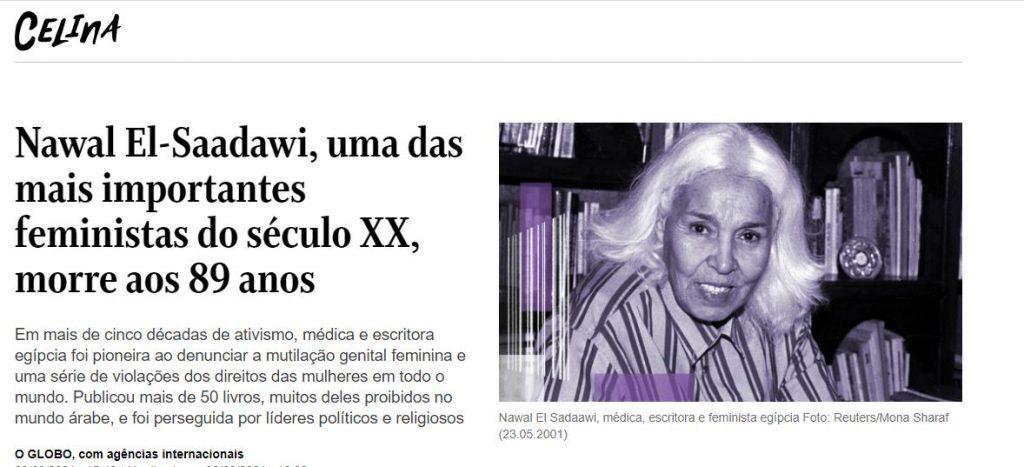 Nota de falecimento de Nawal El Saadawi no O Globo