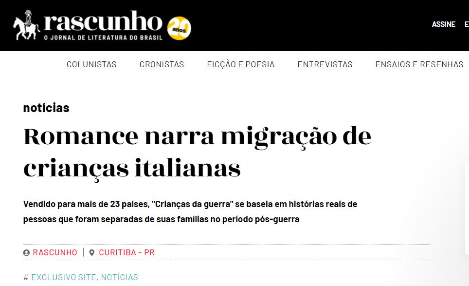 """""""Crianças da Guerra"""" no Jornal Rascunho"""