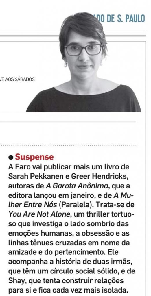 """Contratação do livro """"You're not alone"""" no Estadão"""