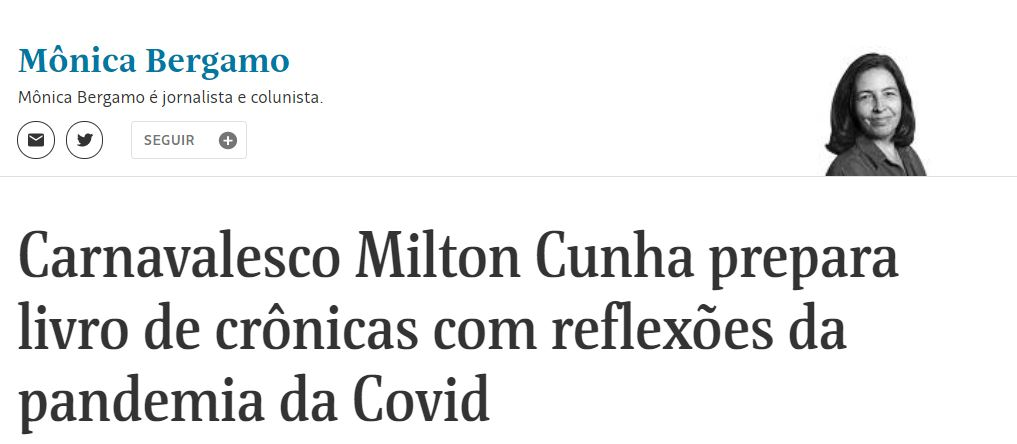 Livro de Milton Cunha na Folha de S.Paulo